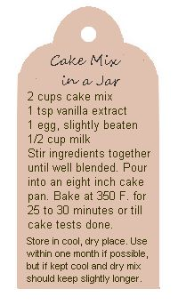 printable label for cake in a jar mix