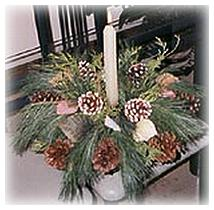 homemade fresh pine centerpiece