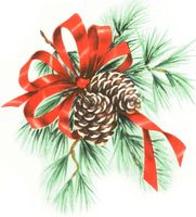 pine cones and ribbons
