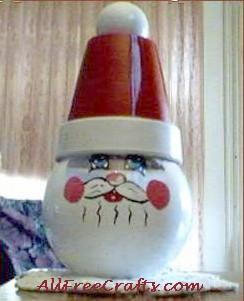 glass bowl santa candy jar