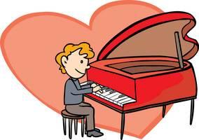 heart shape cartoon piano