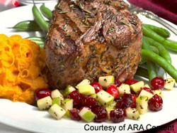 lamb chop and apple relish
