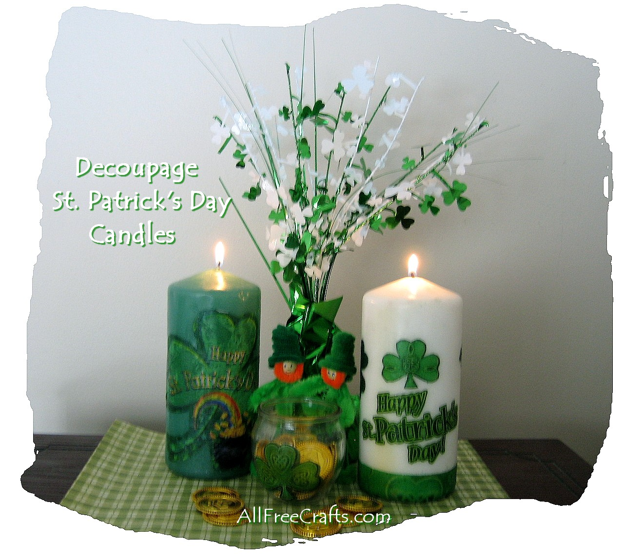 St. Patrick's candles with paper napkin decoupage