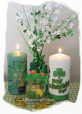 pillar candles for St Patrick's Day