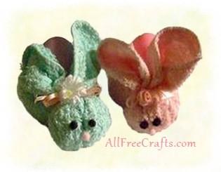 two washcloth bunnies