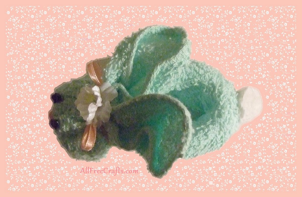 top view of washcloth bunny