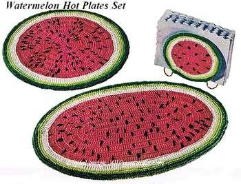 crocheted watermelon mats