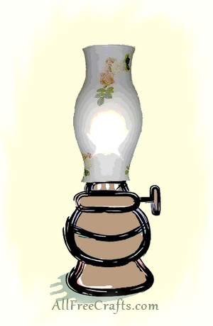 oil lamp with decorated glass