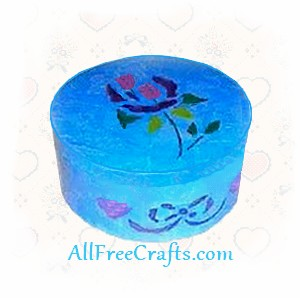 trinket box decoupaged with tissue paper