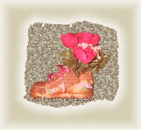 crackle painted baby shoe
