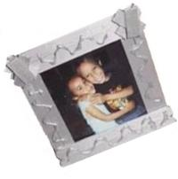 craft stick photo frame with hot glue detail