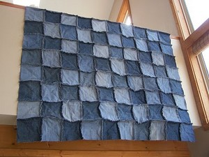 homemade denim patchwork quilt