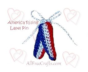 crocheted patriotic lapel pins