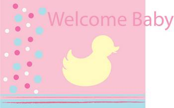 welcome baby picture with a duck