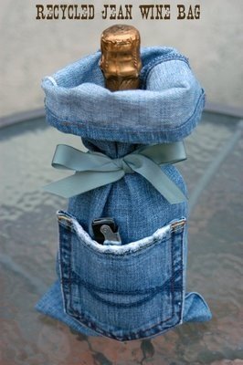 recycled denim wine bag