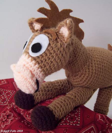 crochet brown pony
