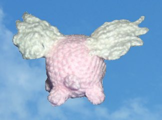 crocheted winged pig - back view