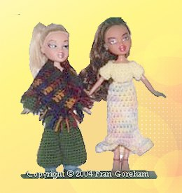 Crocheted Poncho and Flounced Skirt
