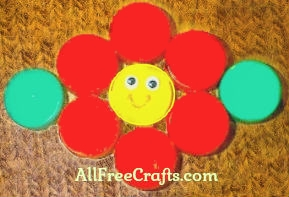 recycled bottle cap flower