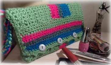 crocheted cosmetic bag