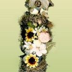 miniature bird box floral decoration