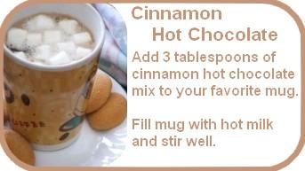 cinnamon hot chocolate mix label