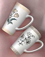 floral painted mugs
