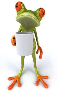 stylish frog holding coffee