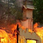blazing house fire