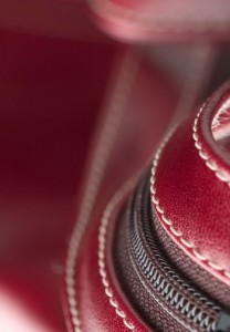 red leather stitching detail
