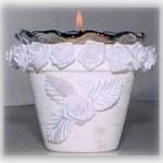 white rose pot candle holder