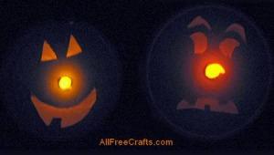 illuminated cheese box pumpkins