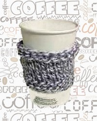knitted coffee cozy