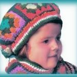 crocheted granny square hat for children