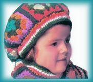 crocheted granny square hat for children
