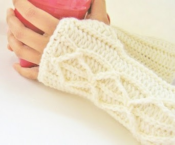 faux cable mitts