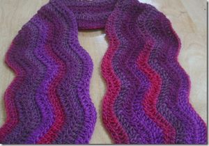 ripple wave crocheted scarf