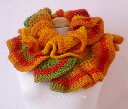 spiral scarf worn as a cowl
