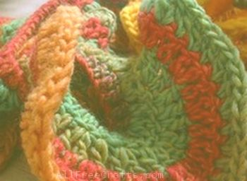 close up of crochet on spiral scarf