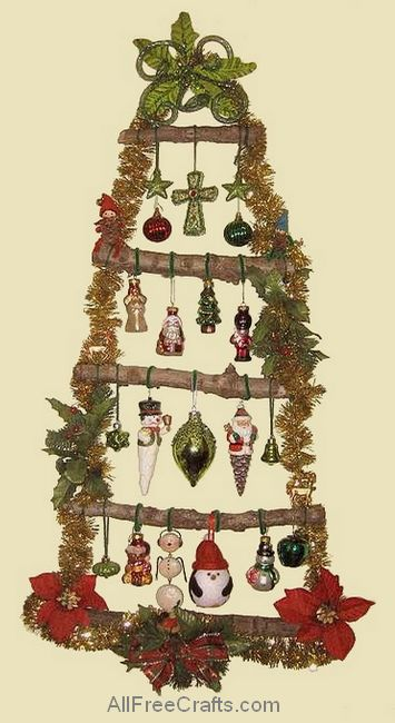 christmas wall tree with hanging ornaments