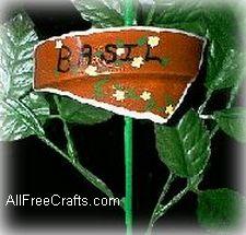 clay pot shard basil marker