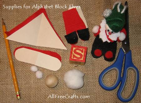 supplies for alphabet block elves