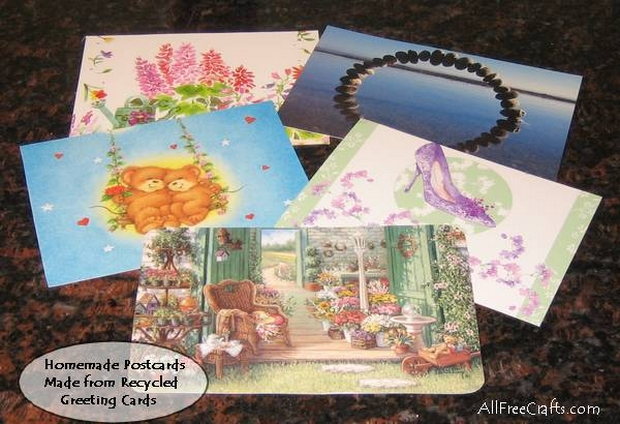 Postcards made from greeting cards.