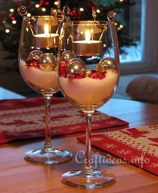 snow and bauble wine glass tea lights