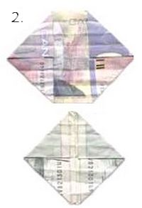 second folds on paper money to make butterflies