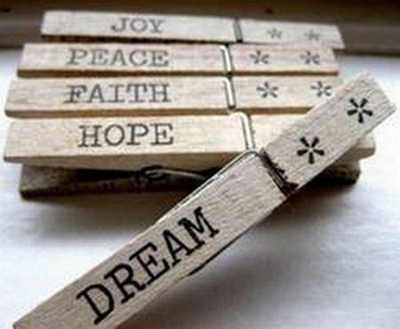 inspirational stamped clothespins