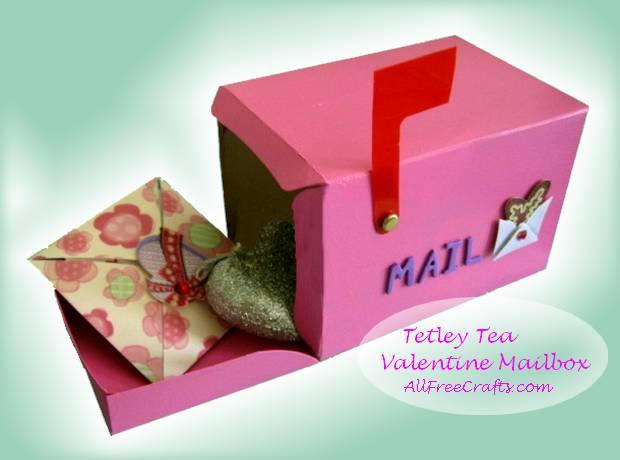 recycled Tetley Tea box made into a Valentine mailbox