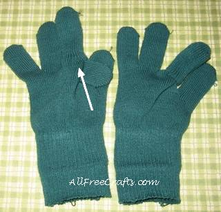 combining glove fingers to make doll legs