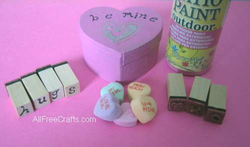 supplies needed to make conversation heart box