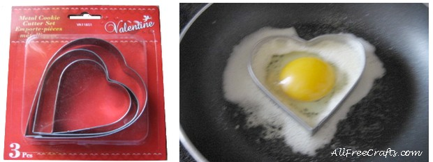 Frying an egg in a heart-shape cookie cutter.